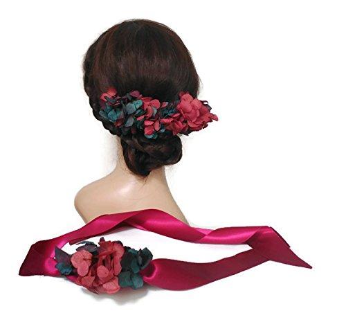 Peineta de flores rosa y azul, peineta de boda, tocado vestido largo, peineta rosa, tocado con flores, corona de flores: Amazon.es: Handmade