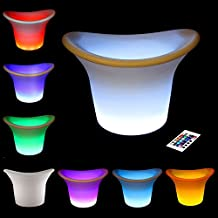 Mr.Go Ultra-fun Rechargeable Magic Color LED Light Up Ice Bucket in White with Remote Control Stunning 16 Dimmable RGB Color Light Show & 4 Modes, Battery Powered Glowing Wine Cooler/Flower Pot, BPA-free Plastic, Lightweight, Double Wall Insulated & Waterproof (D32*H27cm)
