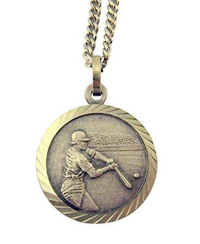 Baseball Christopher - Nickel Silver Saint Christopher Baseball Athlete Sports Medal Pendant, 3/4 Inch
