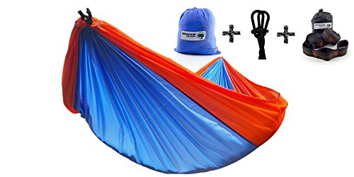 ++FLASH SALE++ The Mighty Oak Double Parachute Camping Hammock + [More Durable Ripstop Nylon] Camp Gear For Backpacking Camping Survival + Portable Lightweight + Suspension System