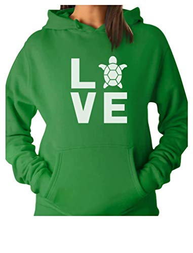 TeeStars  I Love Turtles  Animal Lover Turtle Print Cute Women Hoodie Medium Green