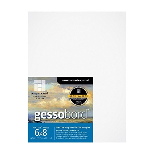 Ampersand Gessobord for Acrylic, Oil and Mixed Media, 1/8 Inch Depth, 6X8 Inch, Pack of 3 (GBS0608) ()