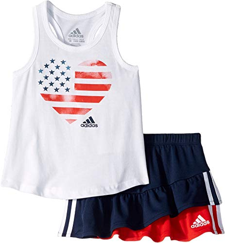 adidas Kids Baby Girl's Skort Set (Infant) White 18 -