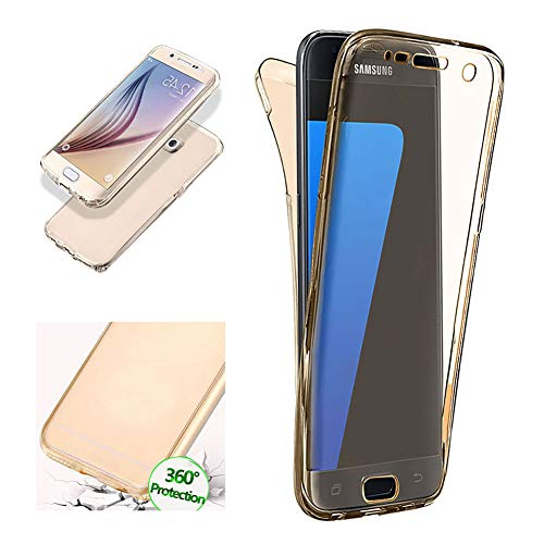 Price comparison product image Aearl Samsung Galaxy S7 Edge Case,Ultra Thin Clear 2 Piece TPU 360 Degree Full Body Coverage Protection Shock Absorbing Protective Cover with Built in Screen Protector for Samsung Galaxy S7 Edge-Gold