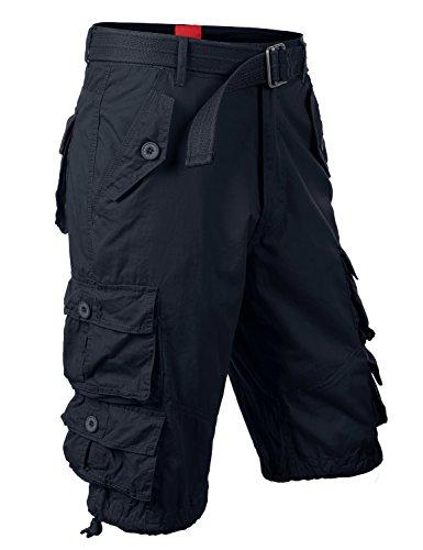 "URBANCREWS Mens Hipster Hip Hop 9 Pockets Cargo Shorts NAVY 36"" WAIST"