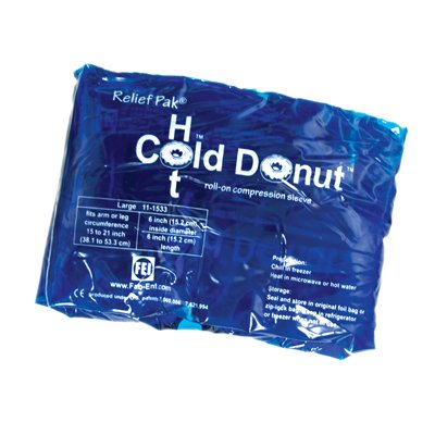 Relief Pak Cold N' Hot Donut Compression Sleeve - Large (For 4-10'' Circumference) - Case Of 10 - 11-1533-10