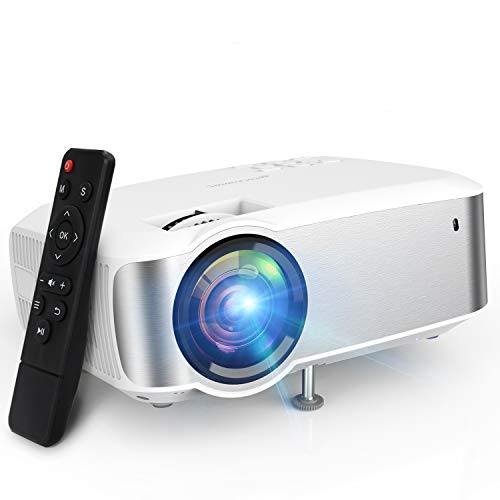 Projector, TOPVISION 1080P Supported Led Projector with 5500L,60,000 Hrs Movie Projector for Indoor/Outdoor Use, Compatible with Fire TV Stick, PS4