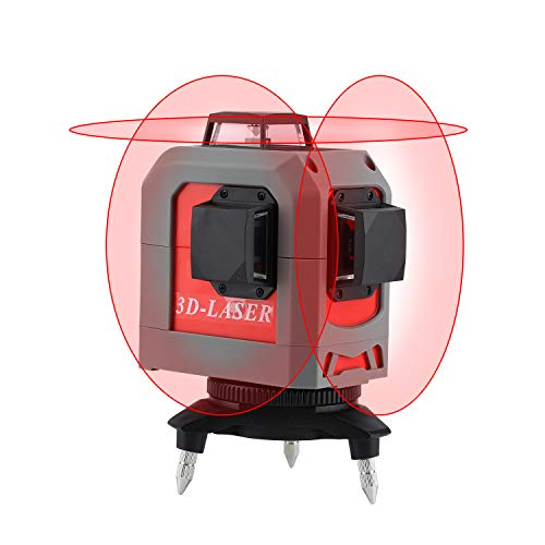 FOUCAULT 3D Red Beam Self-leveling Adjustable Laser Level, 3x360 Cross Line Three-Plane Leveling Laser Alignment Tool with Adjustable Brightness- Two 360° Vertical and One 360° Horizontal Line