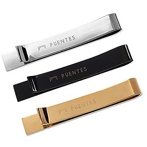 Puentes Denver Men's Tie Clip Bar Set, Textured, Silver/Black/Gold, One Size, 3 Piece