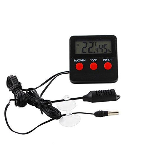 Digitales Thermometer und Hygrometer für Terrarium mit Fernfühler mit Min - / Max Funktion