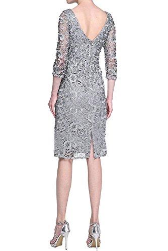 Charmant Langarm Abendkleider Brautmutterkleider Formalkleider Knielang Silber Damen Traube Festlichkleider mit 6qUr6