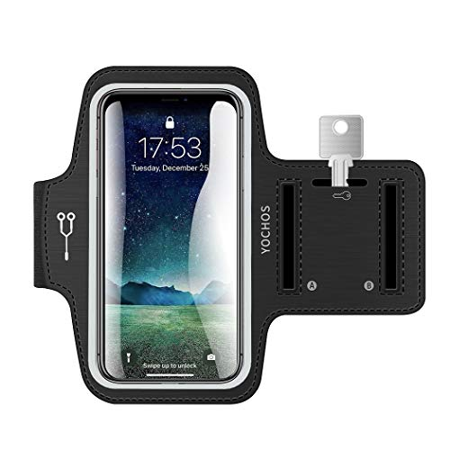 (iPhone X/XR/Xs Max 8 7 6/6s Plus Armband. YOCHOS Running Armband Fits Samsung Galaxy S9 + S8/S7/S6 Edge Note 9/8 LG G6 with Adjustable Elastic Band & Key Holder【Face Recognition Access】)
