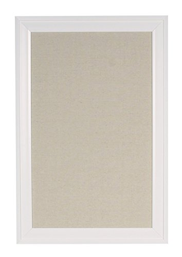 DesignOvation 209412 Bosc Framed Linen Fabric Pinboard, Medium, White,18.5x27.5