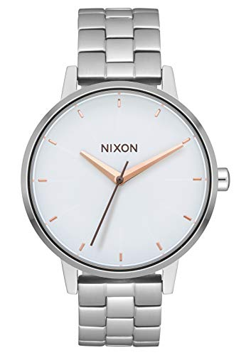 Nixon Kensington Silver/White/Rose Gold Casual Designer Women's Watch (37mm. Rose Gold & White Face/Silver Stainless Steel Band)
