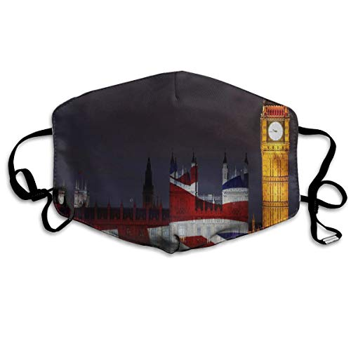Face Mask London Big Ben Union Jack Vintage Cycling Half Face Earloop Face Mask for -