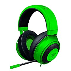 The 3rd generation Razer Kraken is the wired headset for competitive gamers. Its large 50 mm drivers deliver powerful and clear sound. It's engineered for long-lasting comfort with cooling-gel cushions. A retractable microphone ensures your s...