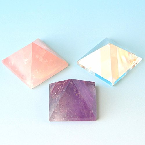 "3 Pcs 1-1 1/4"" Rose Quartz,Purple Amethyst, Clean Crystal Pyramid, by JIC Gem"