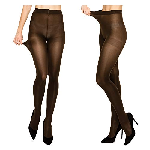 (Women's High Support Solid Tights - Smooth and Opaque Seamless Stocking Durable Comfortable Nylon Spandex Pantyhose Reinforced Toe Women Tights for Work Wear Daily Use Dress School Uniform - BROWN)
