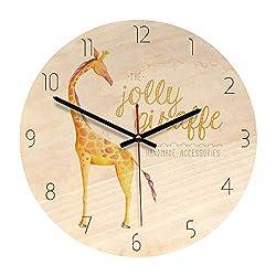 7Buy Wood Wall Clock, 11-inch Non-Ticking Silent Giraffe Wooden Wall Clock for The Children's Room (Giraffe)