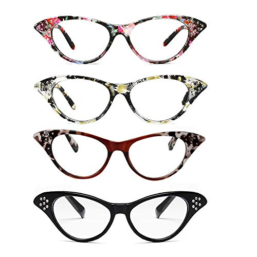 - Cat Eye Reading Glasses 4 Pairs Women Stylish Readers with Spring Hinge Fashion Clear Lens, 2.50 Strength