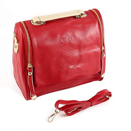 femme à fermeture sac cuir PU en couronne à bandoulière à femmes mode à Double SeniorMar Vintage sac glissière sac la femmes surimpression main a7PPq8