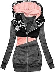 Iusun Full Zip Hoodie for Women, Womens Oversized Sweatshirts Long Sleeve Tops Pockets Outwear Jacket Blouse C