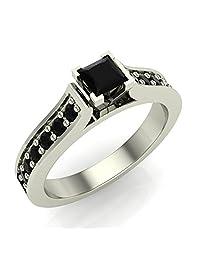 1/2 ct tw Black Princess Diamond Engagement Ring 14K Gold on Sterling
