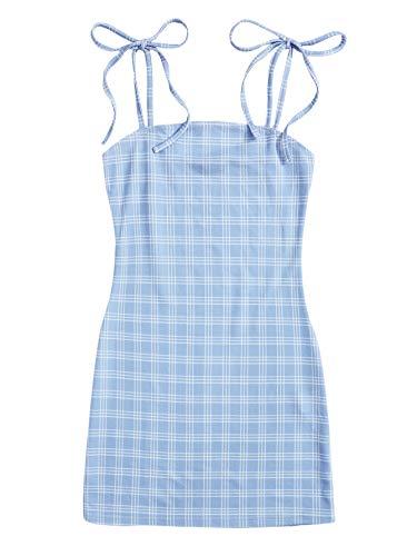 Verdusa Women's Plaid Sleeveless Bodycon Mini Dress Knot Spaghetti Strap Cami Short Dress