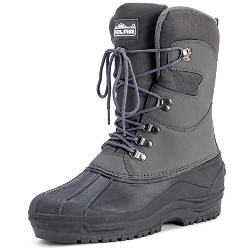 Polar Mens Snow Hiking Mucker Duck Grafters Waterproof Saftey Thermal Boots - Gray - US10/EU43 - YC0447