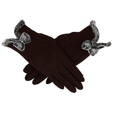 CMrtew Women Cashmere Waterproof Driving Full Finger Touch Screen Gloves