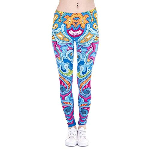 Alta Da Lga43862 Fitness Yoga Moda Leggings Pantaloni Giovane Legging Marca Vita Seaflowers Di Cats Stampa Donna A Elasticizzati 64wWqSa