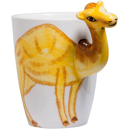 (Jimax Handmade Hand Painted Creative Art Coffee Mug Ceramic Milk Cups Travel Mug (Camel))