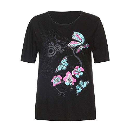 Shirt Tshirt Slim Fleurs Mode Costume Manches Papillon Impression Branch T Chic Fit Col Modle Casual Et Rond Courtes Top Elgante Schwarz Pullover Femme Shirt U6wnr0qU