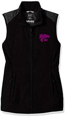 - Cutter & Buck NCAA Kansas State Wildcats Adult Women Cedar Park Full Zip Vest, Medium, Black