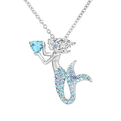 FAUOI 18K White Gold Simulation Diamond Mermaid Birthstone Necklace Crystal Charms Necklace Magic Pendant Gift for Women Girls