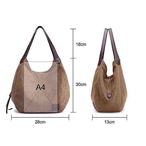 GINDOLY Hobo Handbag Bag Bag Shoulder Small Canvas Brown Lady Bucket Fashion Bag Tote Shopper zAxrwzUq