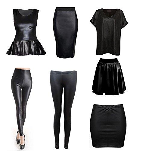 Jupe Femme Minigonna Ahr®® bagnato effetto xw7PxRnqU