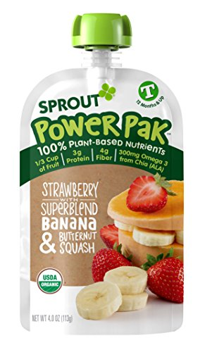 Sprout Organic Baby Food Pouches Sprout Organic Power Pak Toddler Food Pouch, Strawberry with Superblend Banana & Butternut Squash, 4 Ounce(Pack of 12); USDA Organic, 3 Grams of Protein,Plant Powered by Sprout (Image #1)