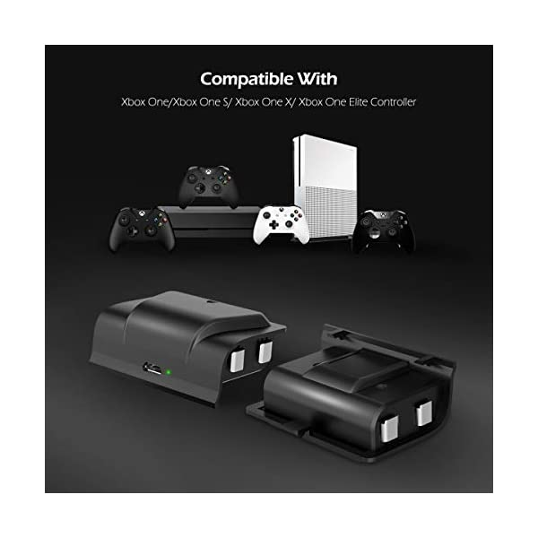YCCTEAM Battery Pack for Xbox One Controller, 2pcs 1200mAh Rechargeable Batteries Play and Charge Kit for Xbox One S/X… 5