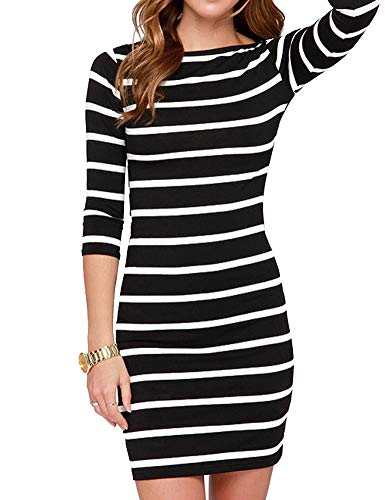 Agmibrelr Womens Women's Casual Crew Round Neck Long Sleeve Bodycon Short Pencil T Shirt Dresses Semi Formal Cotton Dress for Women Black and White Striped L