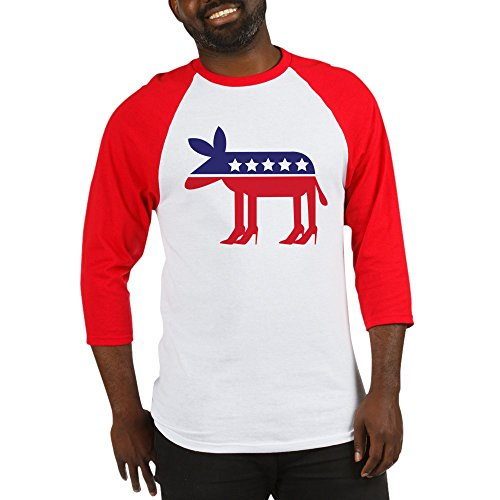 CafePress - Democratic Donkey On Heels - Cotton Baseball Jersey, 3/4 Raglan Sleeve Shirt