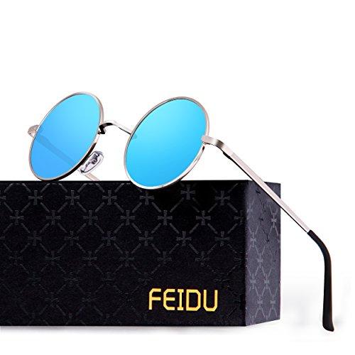 FEIDU Retro Polarized Round Sunglasses for Men Vintage Sunglasses Women FD3013 (blue, 1.81)]()