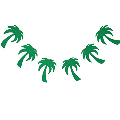 Bobee Palm Tree Party Supplies Paper Garland, 7 Foot Strand, 15 Palm Trees -