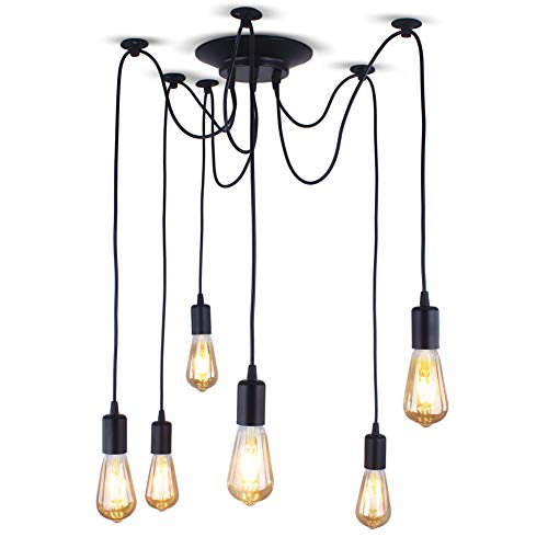 Xundi 6 Arms Retro Classic Edison Lamp Chandelier Loft Light Spider Pendant Lighting Fixture Rural Vintage Industrial Ceiling Pendant Light (Black Wire)