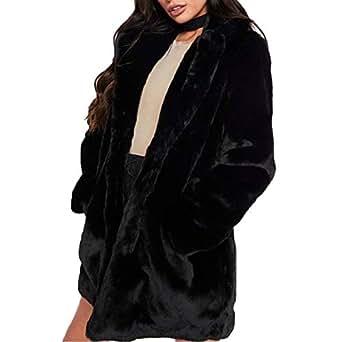 Weixinbuy Women's Long Sleeve Lapel Faux Fur Winter Warm Coat Jacket Overcoat Outwear with Pockets Black
