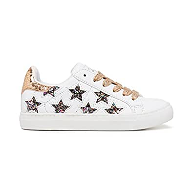 Clarks Girls Stardust Fashion Shoes, White/Multicolor Glitter, 1 US