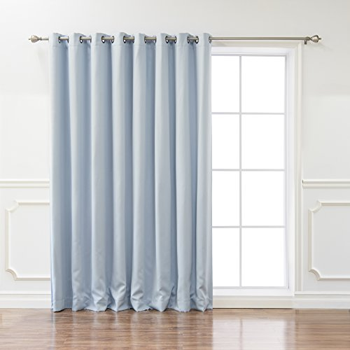 Best Home Fashion Wide Width Thermal Insulated Blackout Curtain - Antique Bronze Grommet Top - Sky. Blue - 100