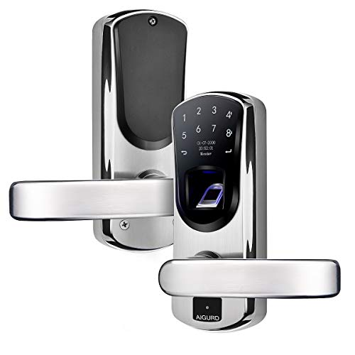 Fingerprint Door Lock - AIGURD Fingerprint Smart Door Lock, Biometric Keyless Electronic Lock, Touchscreen 304 Stainless Steel Keypad Lock(F22 Right Handle)