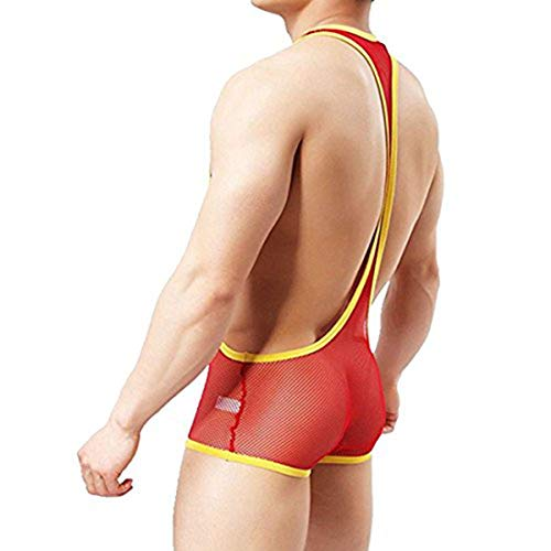 Alvivi Men's One-Piece Mesh U-Convex Bodysuit Underwear Fishnet Wrestling Singlet Jockstrap Red Medium by Alvivi