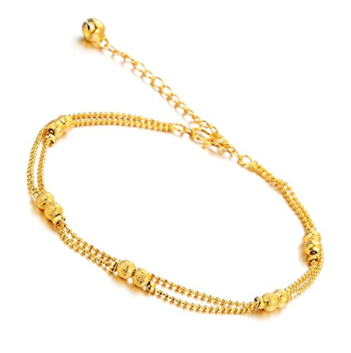 Aienid Gold Double Chain Anklet Bracelet for Her Frosted Bead Foot Chain Charm, Solid M Clasp by Aienid